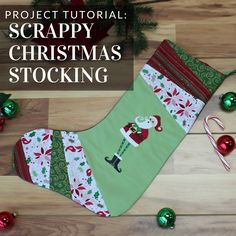 Hang this scrappy stocking from Embroidery Library on your mantel, staircase, or on the wall!
