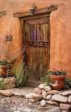 Brown door leading to a mystery.  Perhaps a beautiful garden or to a view of the ocean beyond a beach just feet away from this brown door.