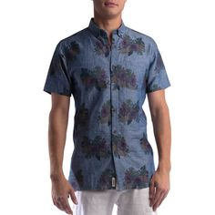 Civil Society Juanito Floral-Print Short-Sleeve Shirt ($32) ❤ liked on Polyvore featuring men's fashion, men's clothing, men's shirts, men's casual shirts, blue, mens casual short-sleeve button-down shirts, men's flower print shirt, mens linen shirts, mens casual short sleeve shirts and mens blue linen shirt