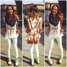 China Anne McClain rocking her swag look I LOVE HERR!! especially her hair! Jelly c: