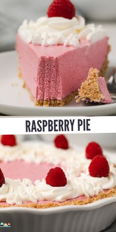 Use frozen red raspberries in this no-bake raspberry pie. The tangy mousse filling takes just a few minutes to whip up! This no-bake raspberry pie recipe is made with frozen raspberries so you can enjoy it any time of year! Raspberry Recipes, Raspberry Cheesecake, Cheesecake Recipes, Raspberry Pie Fillings, Cheesecake Bites, Raspberry Dessert Recipes, Rasberry Pie, Raspberry Cake Filling, White Chocolate Raspberry Cake