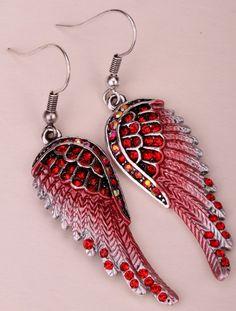 Angel Wings Crystal Earrings (15 Colors)