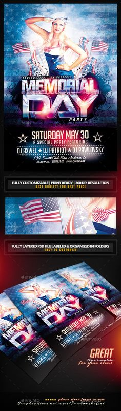 Memorial Day v2 PSD Flyer Template - Holidays Events