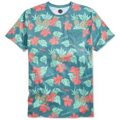 Maui and Sons Men's Tropical Life T-Shirt ($26) ❤ liked on Polyvore featuring men's fashion, men's clothing, men's shirts, men's t-shirts, tropical g, mens pineapple shirt, mens pineapple t shirt, mens flower shirt and mens t shirts