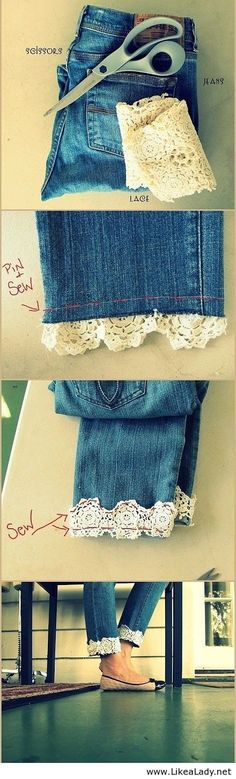 Sew lace to the bottom cuff of jeans