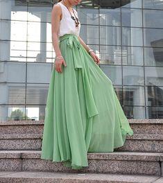 High Waist Maxi Skirt Chiffon Silk Skirts Beautiful Bow Tie Elastic Waist Summer Skirt Floor Length Long Skirt (037), #122
