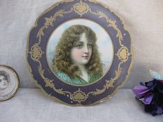 Antique Flue Cover Insert...Lithograph of Victorian Girl