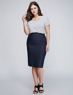 Striped Navy High-Waist Midi Pencil Skirt | Lane Bryant | Eva Kay ...