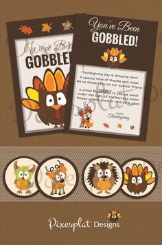 You've Been Gobbled Turkey'd We've BeenGoobled by PixiesplatDesign Thanksgiving Messages, Thanksgiving Preschool, Thanksgiving Traditions, Thanksgiving Feast, Holiday Games, Holiday Crafts, Holiday Fun, Fall Gift Baskets, Morale Boosters