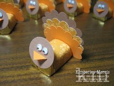 turkeys made with paper punch and hershey nuggets
