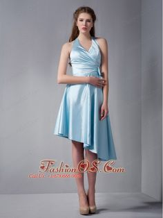 Customize Baby Blue A-line Halter Asymmetrical Ruch Bridesmaid Dress Elastic Woven Satin- $105.46  https://pinterest.com/Fashionos/  http://www.youtube.com/user/fashionoscom?feature=mhee   This dress would be a wonderful addition to any wedding court or worn alone to a separate function. The halter-style bodice features wide straps and a V-neckline. The cute bowknot on the side of the bodice compliments the dress perfectly and frames the A-line skirt beautifully.