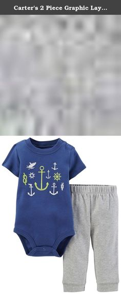 Carter's 2 Piece Graphic Layette Set (Baby) - Anchors-9 Months. Carter's 2 Piece Graphic Layette Set (Baby) - Anchors Carter's is the leading brand of children's clothing, gifts and accessories in America, selling more than 10 products for every child born in the U.S. Their designs are based on a heritage of quality and innovation that has earned them the trust of generations of families. Features: Set includes a short-sleeve cotton bodysuit and soft cotton pull-on pants. Snaps on one...