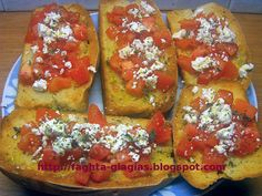 Greek Dishes, Greek Recipes, Bruschetta, Street Food, French Toast, Oven, Deserts, Breakfast, Ethnic Recipes