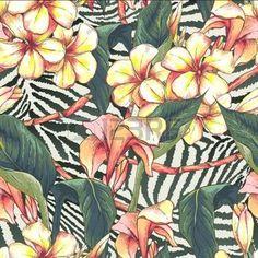 animalier pattern: Seamless pattern con fiori esotici