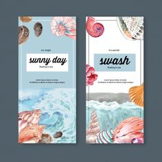 Banner with wave and shellfish concept, ... | Free Vector #Freepik #freevector #banner #brochure #floral #water Free Brochure, Water Branding, Free Banner, Vector Photo, Vector Free, Pastel, Waves, Templates, Illustration
