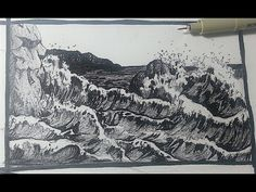 Pen & Ink Drawing Tutorials   How to draw a seascape with waves ~ amazing!!