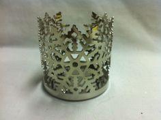SLATKIN- Silver snowflake Tiny Candle Jar Wrap