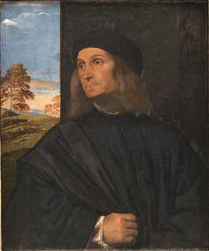 Tizian   Italian,  Portrait of the Venetian Painter Giovanni Bellini (?), 1511-1512 TECHNIQUE Oil on canvas REFERENCE DEP15
