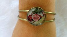 Wild Roses bangle Circle antique gold bracelet by ArtisticBreaths,. Handmade Jewelry, Unique Jewelry, Handmade Gifts, Bangle Bracelets, Bangles, Decoupage Paper, Antique Gold, Heart Ring, Roses