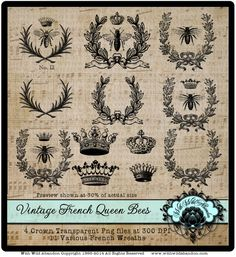 Bee Clipart Queen Bee Clipart Vintage French by withwildabandon