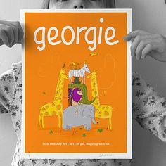 Personalised Girls 'Animals' Print