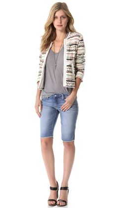Shorts outfit featuring printed jacket.  Genetic Denim The Camina Bermuda Shorts