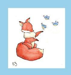 Items similar to Bluebirds. Nursery Art Wall Decor on Etsy Fox Nursery, Nursery Wall Art, Wall Art Decor, Fox Drawing, Baby Drawing, Fox Illustration, Illustrations, Notebook Drawing, Fox Logo