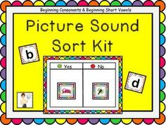 This easy-prep kit can be used as a literacy center, in whole group, small group, or independent settings.  There are 201 cute and colorful pictures of beginning consonant and beginning short vowel sounds that students can sort.Included are three differen