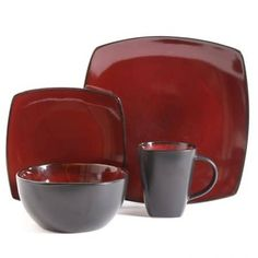 Gibson Overseas, Inc. Gibson Elite Bella Soho Square Reactive Glaze Dinnerware Set Service of Stoneware, Red Gibson Dinnerware, Stoneware Dinnerware Sets, Tableware, Red Dinnerware, Soho Lounge, Black Exterior, Ceramic Materials, Plates And Bowls, Ceramics