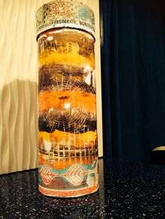 Altered Bottle Holder using Gelli Arts prints and Clarity Stamp Stencils by Sam Crowe