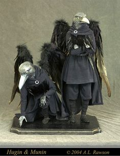 Amy L. Rawson. 2004 Hugin & Munin. Raven Men - the Assembly of an Art Doll - Tutorial