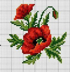 Wildflower poppy cross stitch.