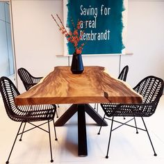 Dining table and bench Suar (tree trunk) – Home – tafel Condo Furniture, Restaurant Furniture, Furniture Ideas, Wood Table, Dining Room Table, Tree Trunk Table, Natural Furniture, Live Edge Table, Business Furniture