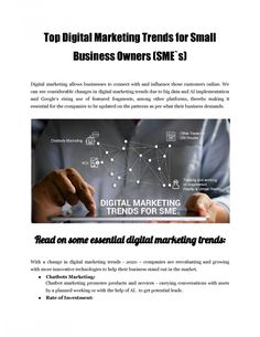 Top digital marketing trends for SMEs, professionals in this field spend more time understanding the business and thereby providing customized solutions to meet the specific goals. It needs detailed analysis and planning. Digital Marketing Trends, Digital Trends, Business Marketing, Specific Goals, Big Data, Meet, Top, Crop Shirt, Shirts