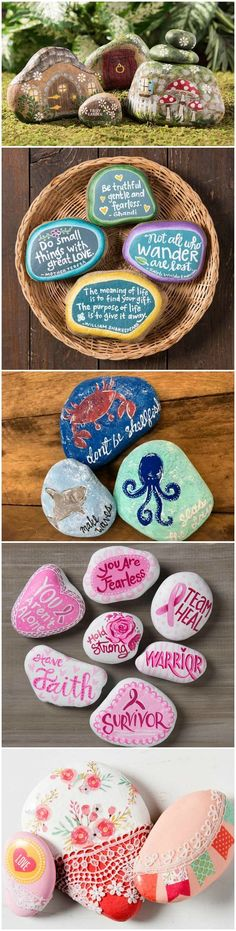 Outdoor Decorating/Gardening :     Promote random acts of kindness with beautiful painted rocks! Get inspired by these 10 projects. How will you decorate your rocks to be found? via Mod Podge Rocks | Crafts + DIY    -Read More –