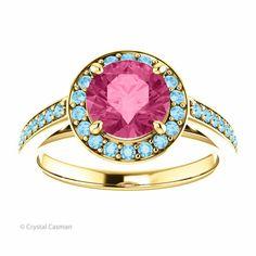 14k AAA Pink Tourmaline and Aquamarine Solid Gold Halo Ring. Custom Ring.