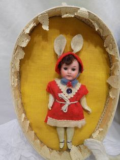 Antique German Doll Easter Bunny W/ Presentation and Easter Egg Armand Marseille