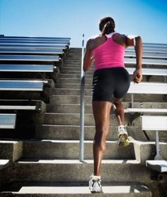 Running up stairs builds cardio endurance because it tests your heart and lungs while you are running.