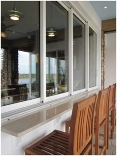 Pass through windows from kitchen area to outside buffet area.