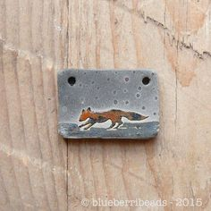 Caroline Dewison Raku Fox Pendant  https://www.facebook.com/groups/CeramicArtBeadMarket/