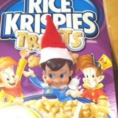 elf on a shelf with rice crispy box | Elf on the Shelf in the Rice Krispies box