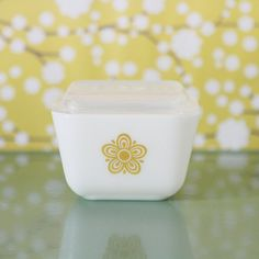 butterfly gold pyrex refrigerator dish