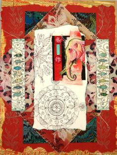 Pink Elephant Mixed Media Collage by ColorUtopia on Etsy https://www.etsy.com/listing/162793403/pink-elephant-mixed-media-collage