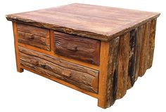 Hanna Coffee Table - love the rustic cabin look of the old west.  on OneKingsLane.com