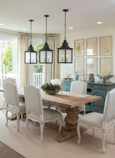 Check how this contemporary dining room home design ideas to get the perfect dining room contemporary lighting to have as home decor inspiration! Dining Room Curtains, Dining Room Table Decor, Dining Room Lighting, Dining Room Design, Dining Room Furniture, Dining Tables, Coastal Dining Rooms, Formal Dining Rooms, Kitchen Lighting