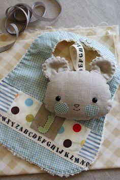 handmade baby boy bib and softy, by nanaCompany