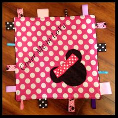Minnie Mouse inspired tag blanket by CoverMeInLove on Etsy, $18.00