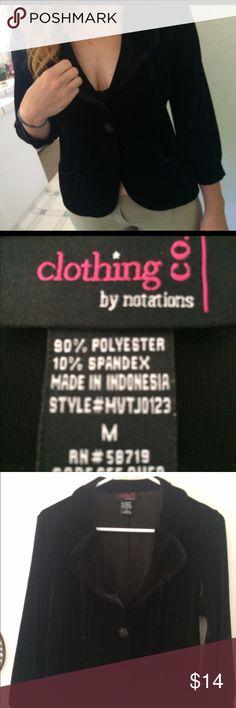 "Velvet jacket Black velvet jacket by ""clothing co by notations Notations Jackets & Coats Blazers"