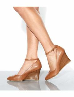 Tan (Stone ) Wide Fit Tan Leather-Look Ankle Strap Wedges | 299422818 | New Look