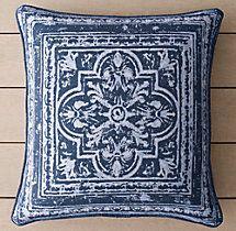 """Perennials® Corsica Tile Outdoor Pillow Covers- Royal Blue 20""""x20"""""""